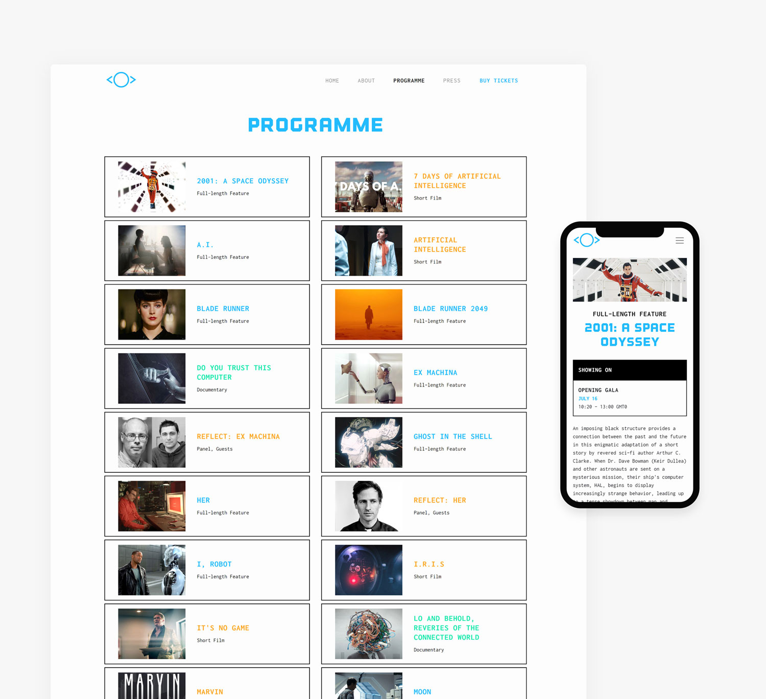 ACT IV Website Programme on Desktop and one program on mobile