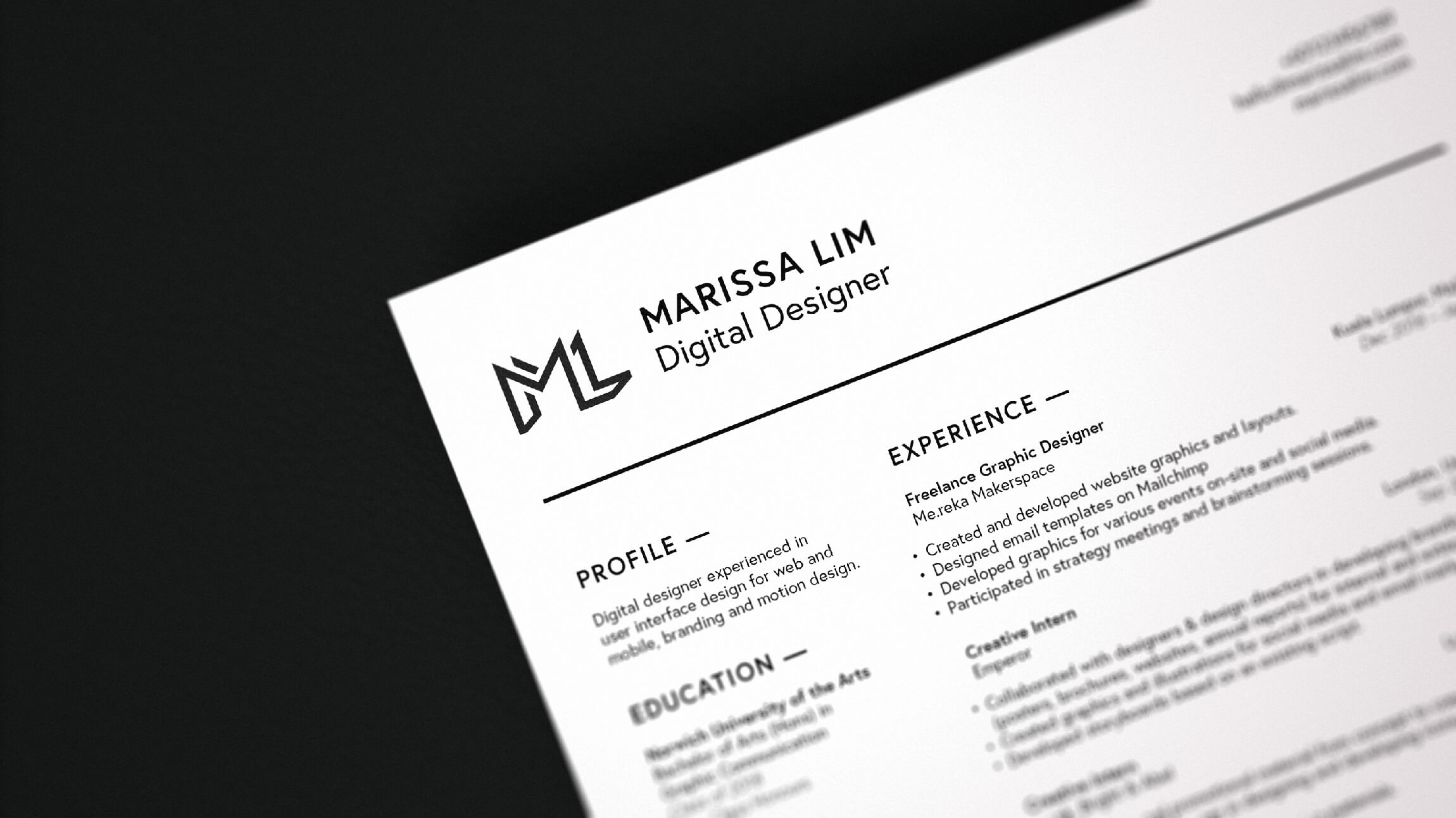 Resume Close Up